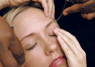 hair threading, eye brow waxing